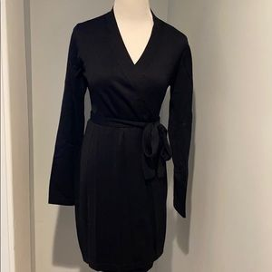 NWT Lulu's All At Once Black 3/4 Sleeve Wrap Dress